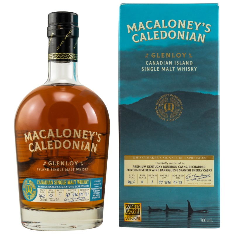 Macaloney Glenloy Canadian Single Malt 0,7 Liter Batch 1 bei Premium-Rum.de online bestellen.