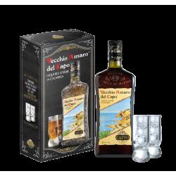 Caffo Vecchio Amaro del Capo Kräuterlikör 35% Vol. 1,0 Liter in Geschenkkarton mit 2 Gläsern